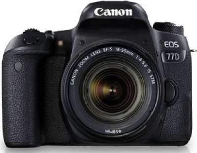 (Canon EOS 77D (24.2 MP) , megapixels - 24.2  Megapixels, built in flash - Retractable, auto pop-up flash, Guide No.: Approx. 12 / 39.4 (ISO 100, in meters/feet), Flash coverage: Approx. 17mm lens angle of view, Recharge time: Approx. 3sec., lcd screen size - 3 inch)