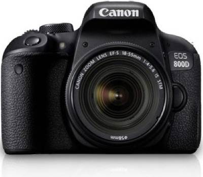 (Canon EOS 800D DSLR (24.2 MP) , megapixels - 24.2  Megapixels, built in flash - Retractable, auto pop-up flash, Guide No.: Approx. 12 / 39.4 (ISO 100, in meters/feet), Flash coverage: Approx. 17mm lens angle of view, Recharge time: Approx. 3 sec., lcd screen size - 3 inch)